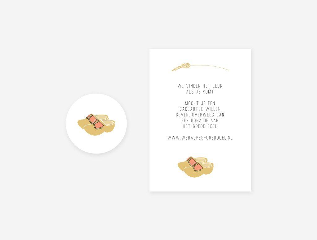 Envelop sluitsticker en cadeaukaartjemet klompjes