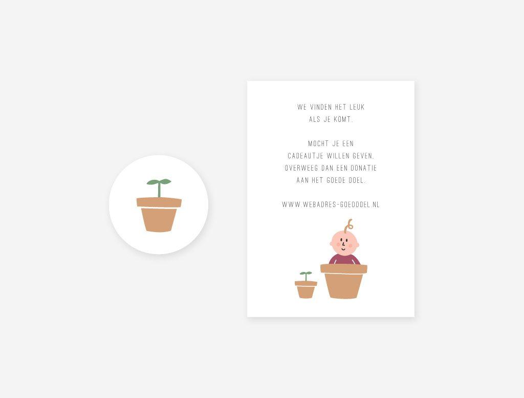 Een vrolijke sluitsticker en een cadeaukaartje passend bij het geboortekaartje tuintje