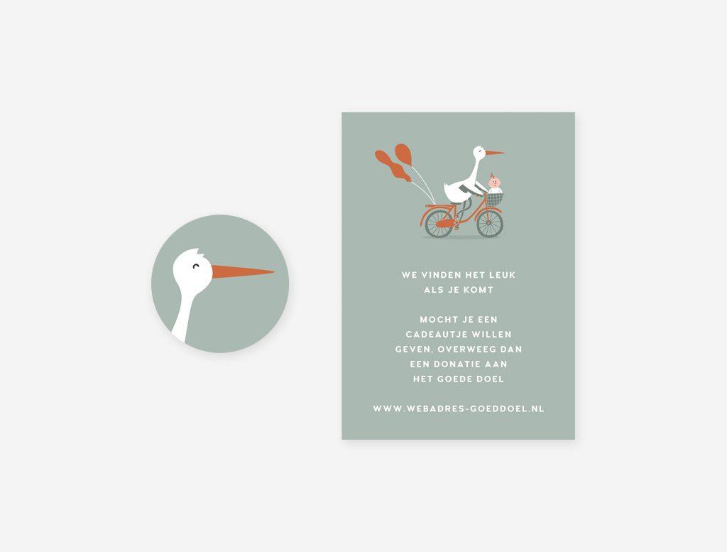 Sluitsticker en cadeaukaartje van het geboortekaartje ooievaar