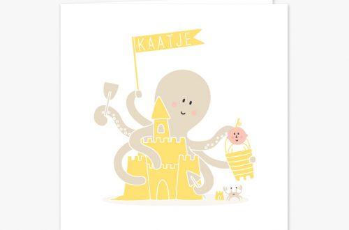 Geboortekaartje octopus voor jongens en meisjes