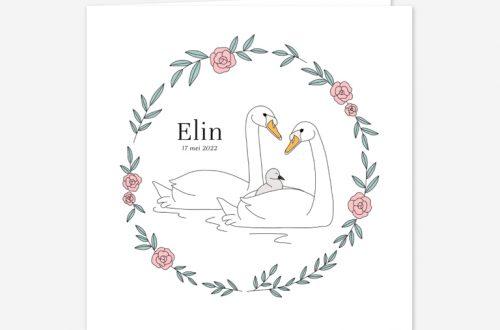 Kondig de geboorte van jullie kleine aan met dit lieve geboortekaartje. Op het kaartje staat een vrolijke zwanenfamilie.