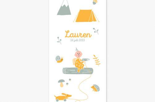 Het geboortekaartje avontuur is vrolijk en elegant. Op het kaartje staat een kleine avonturier die klaar is om de wereld te ontdekken.