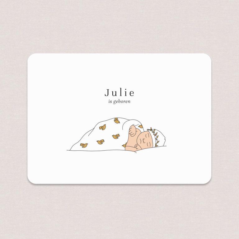 Het geboortekaartje baby slaapt is eenvoudig en elegant. De kleur en het patroontje op het dekentje kunnen naar wens worden aangepast.